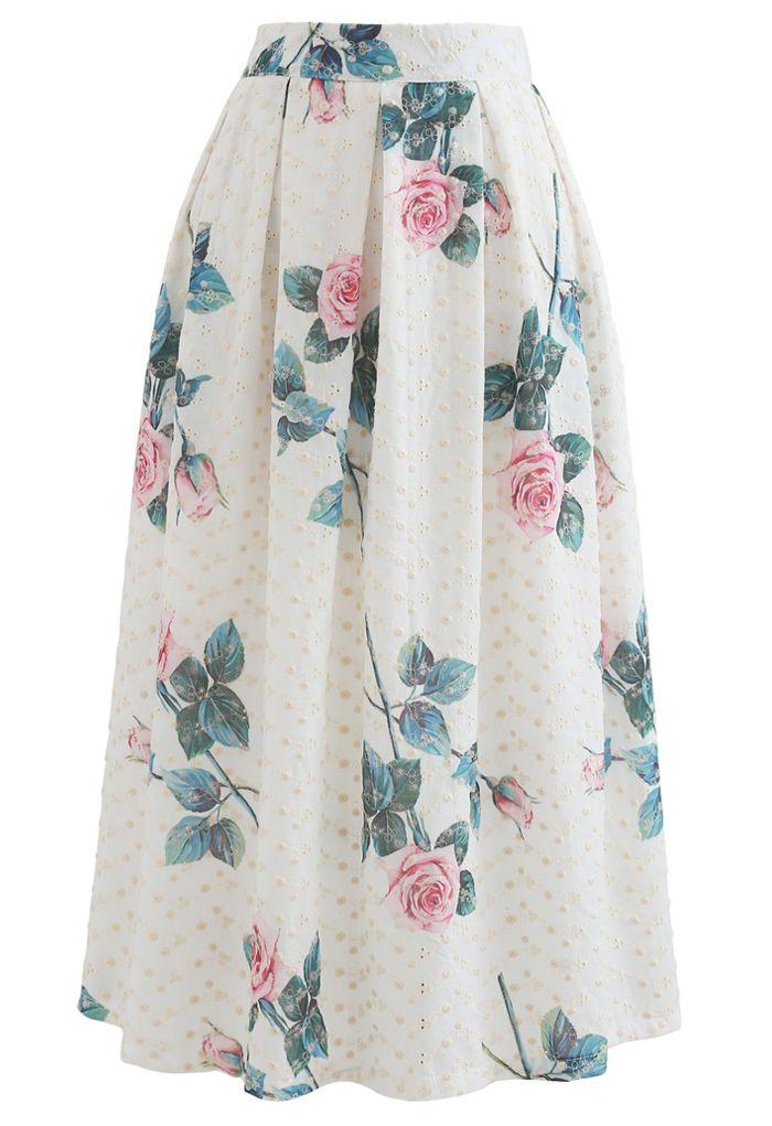 Rose Print Eyelet Embroidered Pleated Midi Skirt