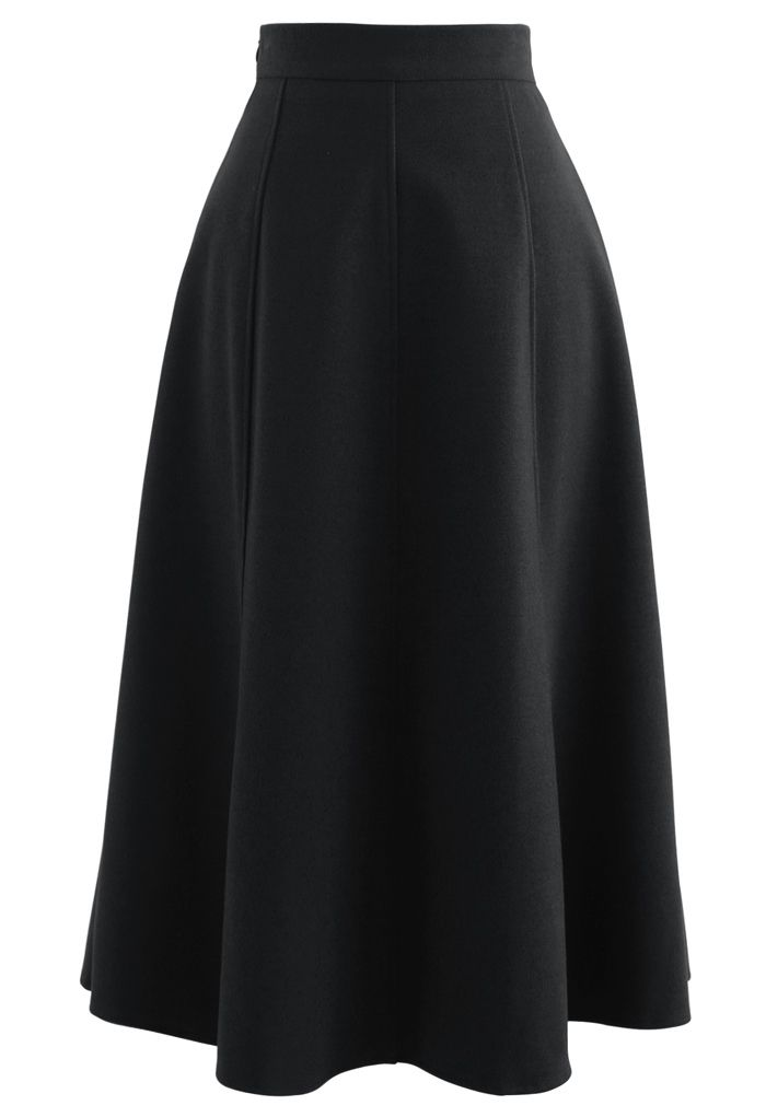 Solid Color Wool-Blend Midi Skirt in Black