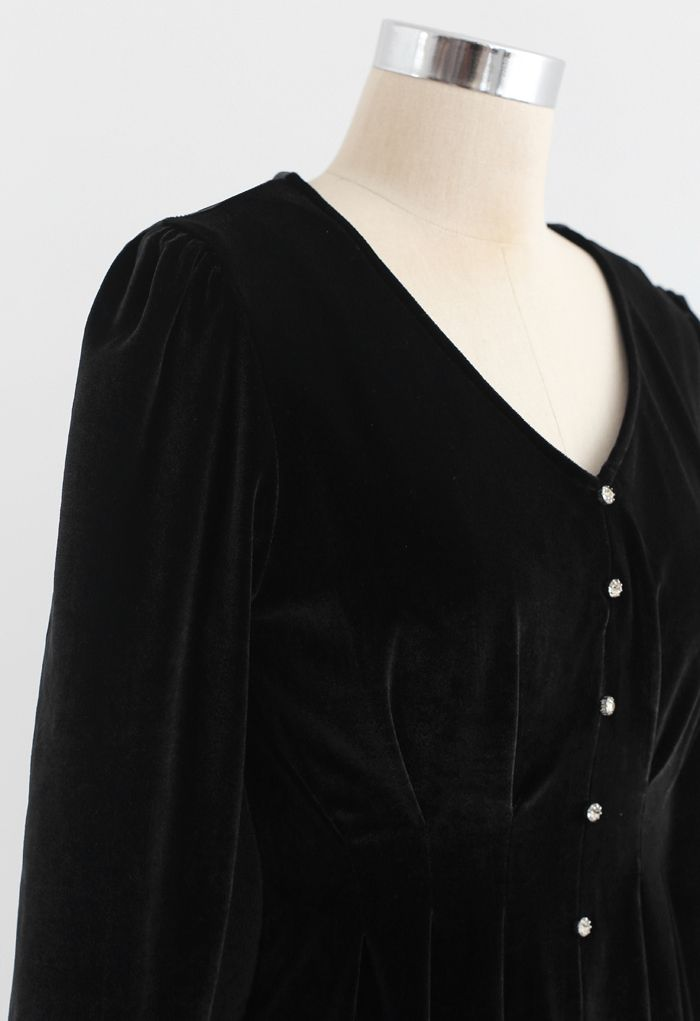Button Trim V-Neck Velvet Midi Dress in Smoke