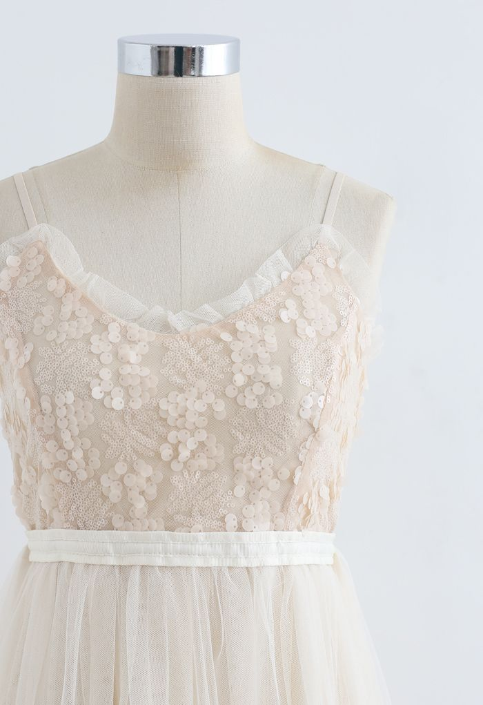 Sequined Shirred Mesh Cami Dress in Cream