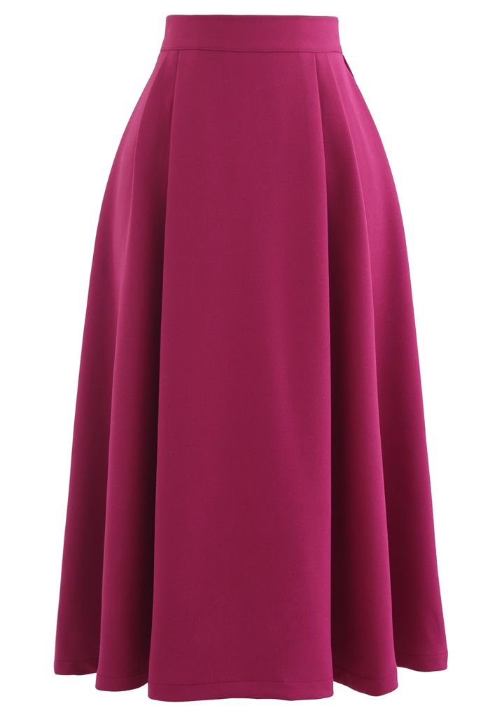 Pleated Flare Midi Skirt in Magenta