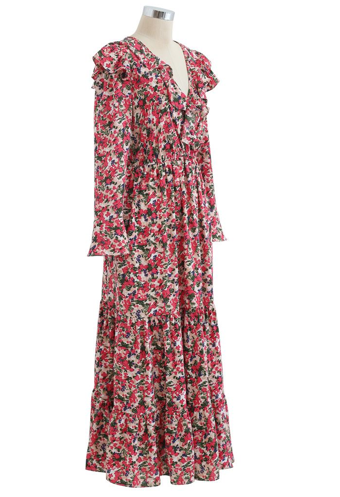 Bright Bloom Wrap Ruffle Maxi Dress in Red