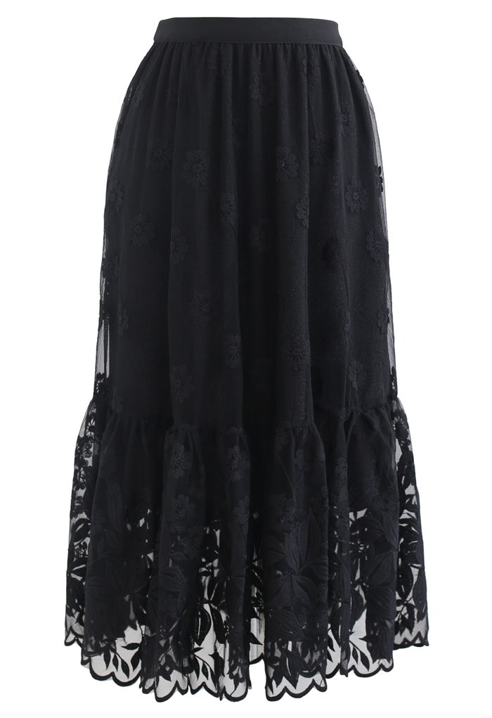 Embroidered Floral Organza Midi Skirt in Black