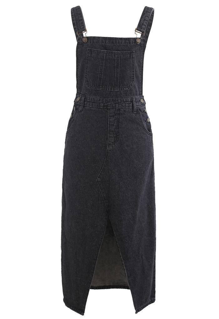 Front Slit Pinafore Denim Dress in Smoke