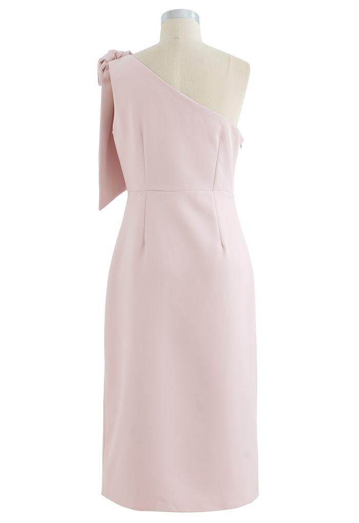 Bow Strap Oblique Slit Shift Dress in Pink