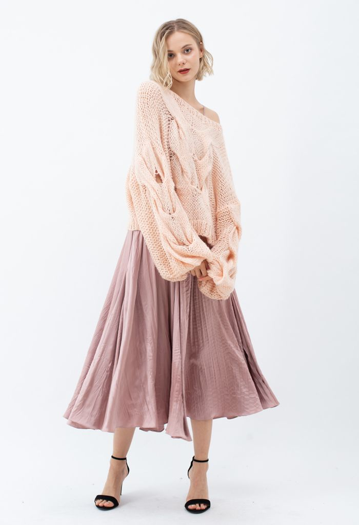 V-Neck Satin Cami Maxi Dress in Dusty Pink