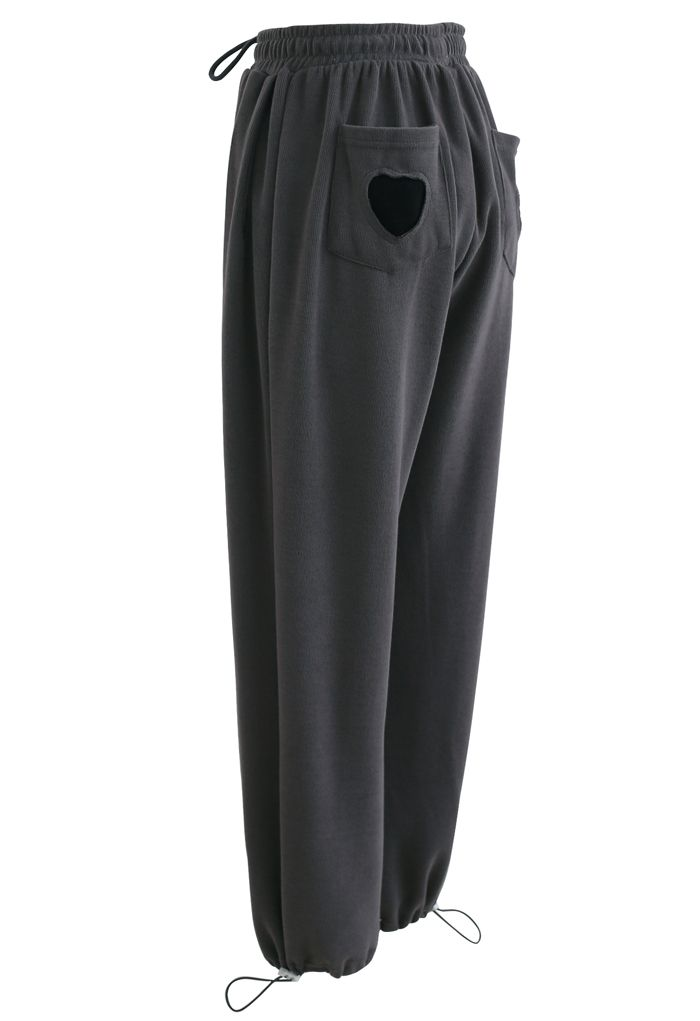 Heart Patched Pocket Drawstring Joggers in Smoke