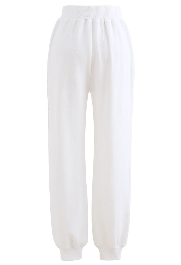 Zip Front Side Pocket Joggers in White