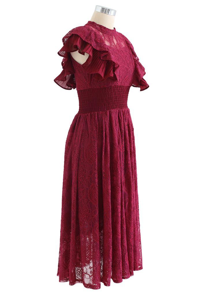 Tiered Ruffle Sleeveless Midi Lace Dress in Wine