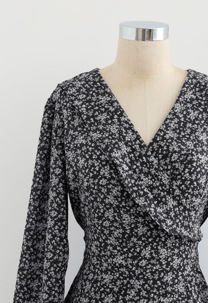 Tiny Floral Tie Waist Asymmetric Dress in Black