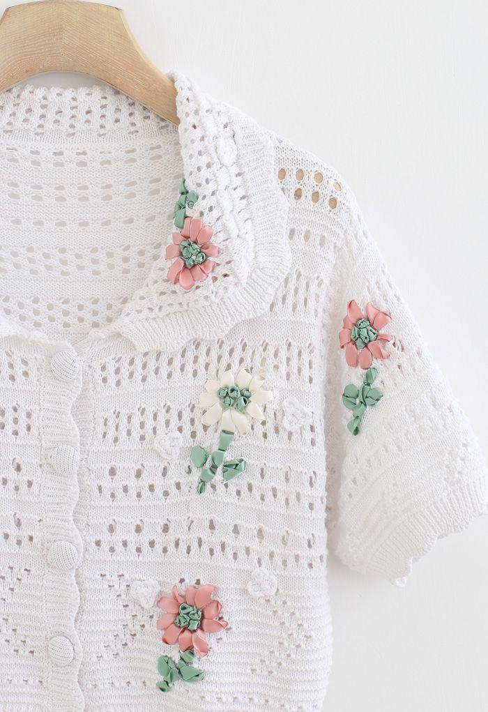 Hand-Knit Flower Eyelet Knit Cardigan in White