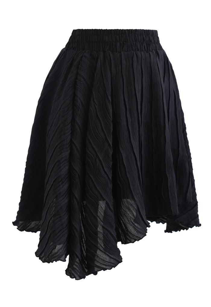 Ripple Embossed Double Layers Skorts in Black