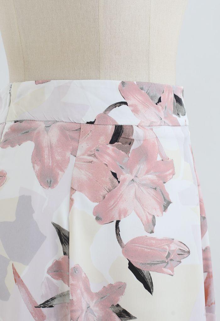 Pink Lily Blossom Chiffon Midi Skirt