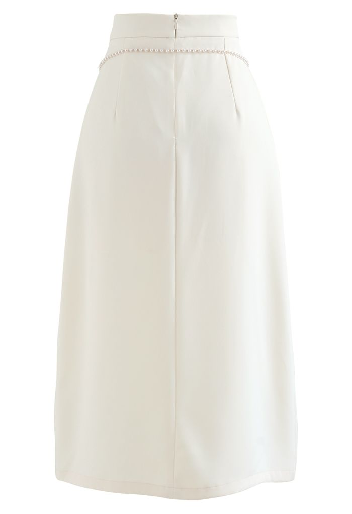 Pearls Chain Front Slit Midi Skirt in Cream