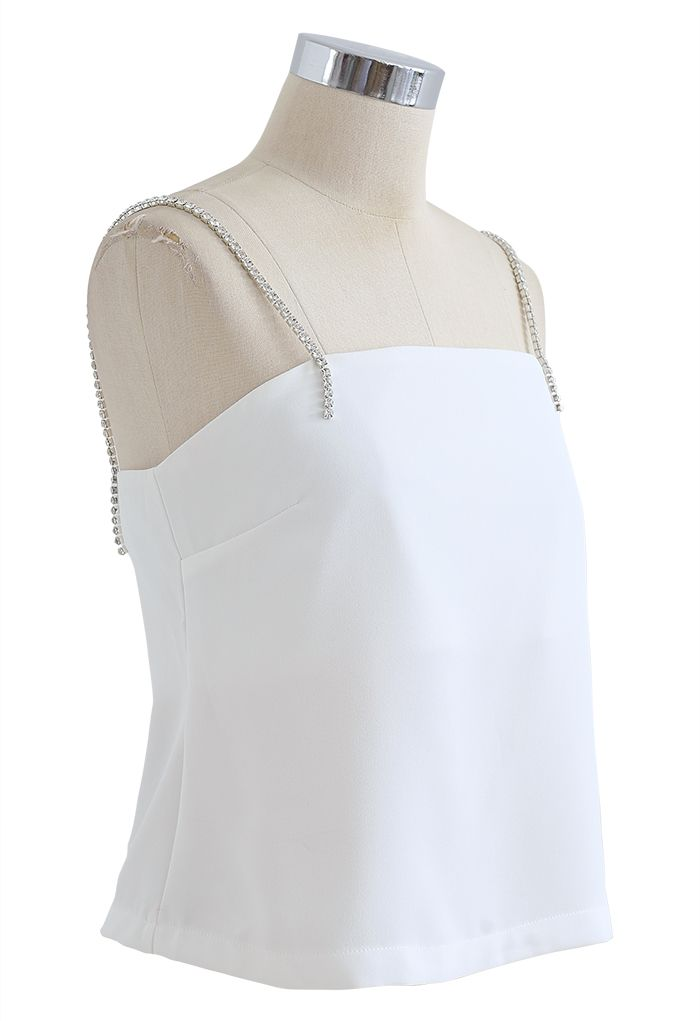 Crystal Straps Cami Tank Top in White
