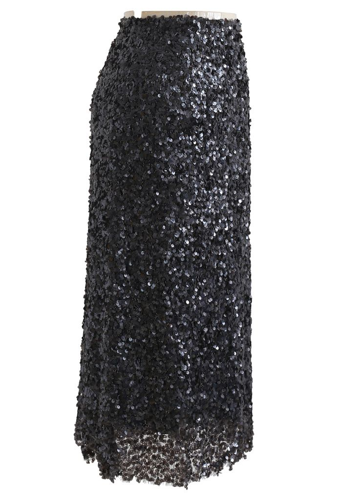 Sequined Seamless Pencil Skirt in Black