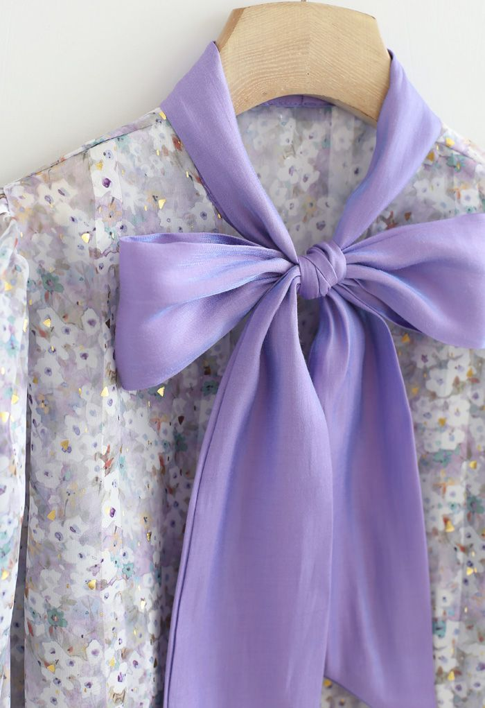 Bow Neck Floret Puff Sleeve Organza Shirt in Purple