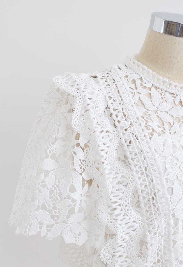 Lush Leaves Crochet Top in White