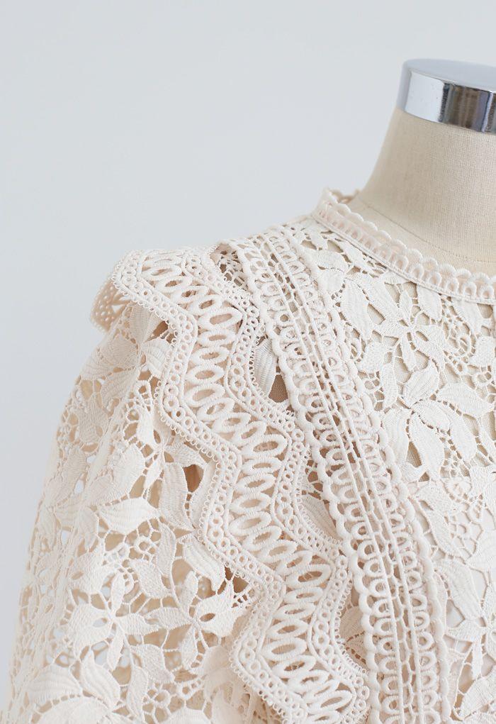 Lush Leaves Crochet Top in Cream