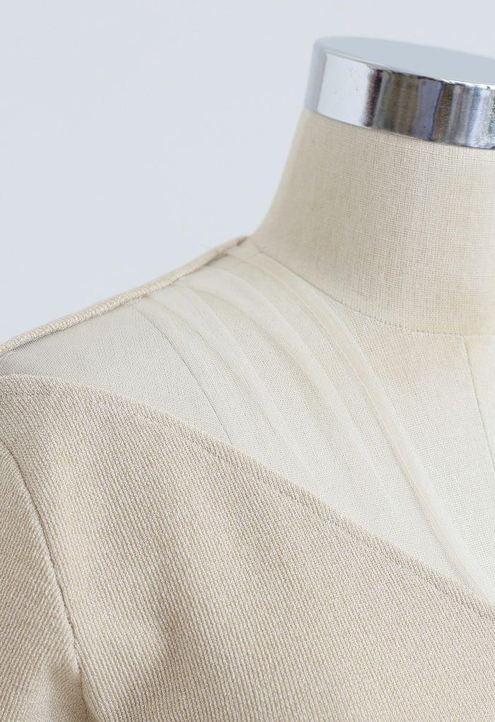 Cross Front Mesh Shoulder Knit Top in Tan