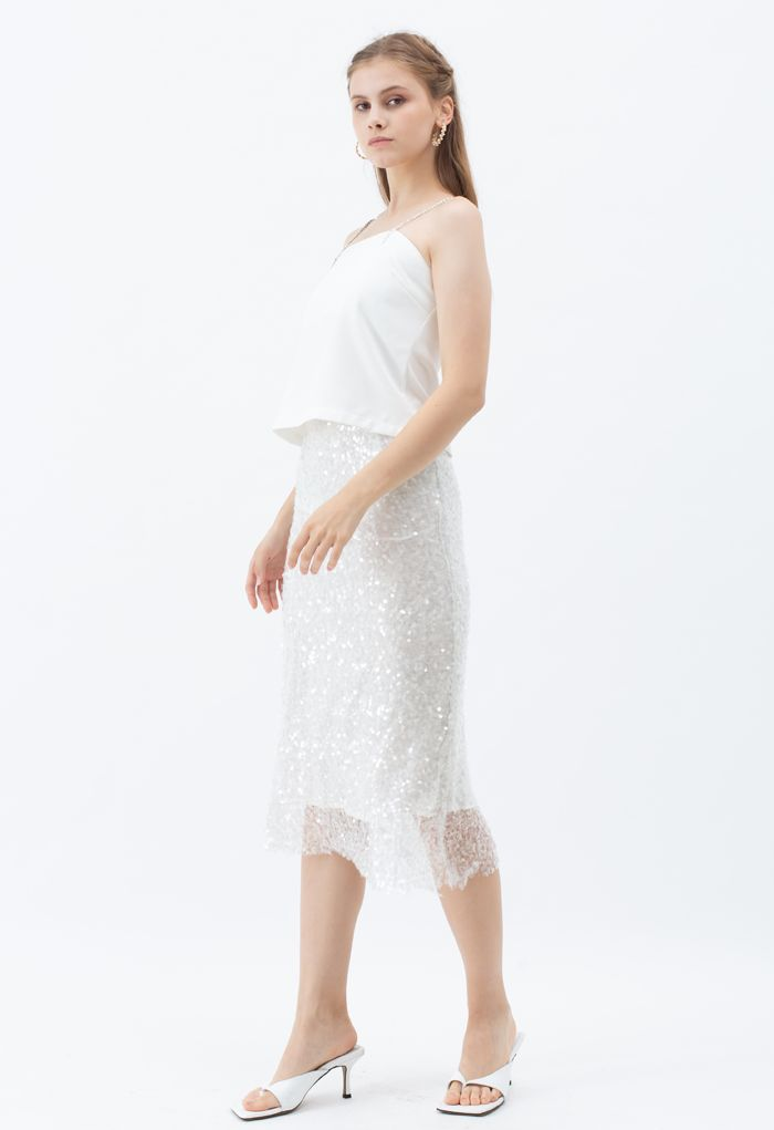 Sequined Seamless Pencil Skirt in White