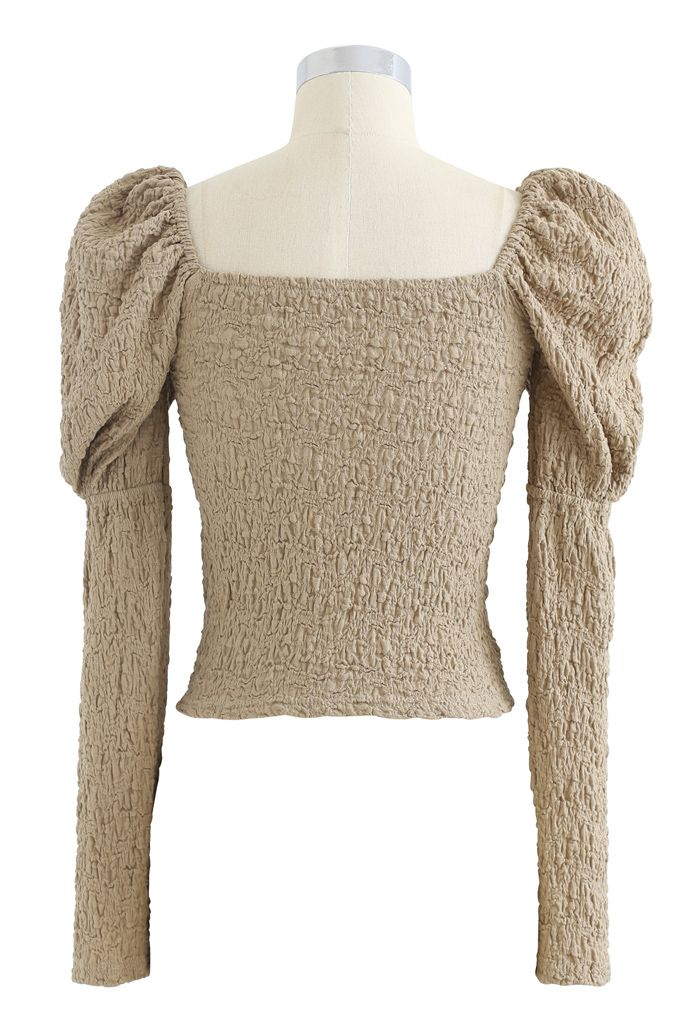 Embossed Square Neck Puff Sleeves Crop Top in Taupe