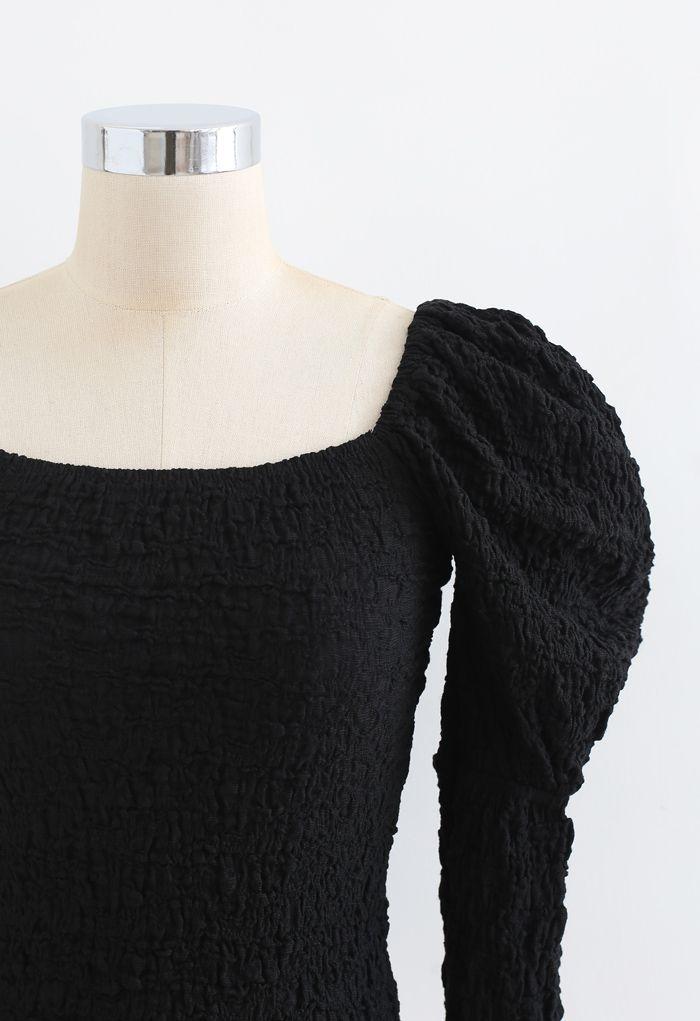 Embossed Square Neck Puff Sleeves Crop Top in Black