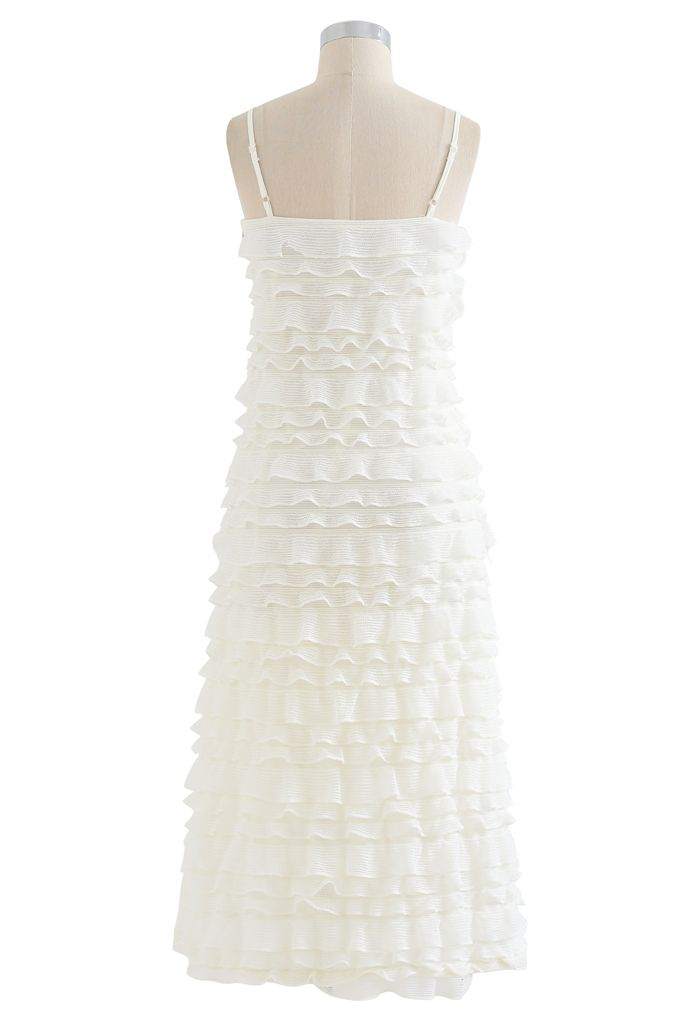 Tiered Ripple Knit Cami Midi Dress in Ivory