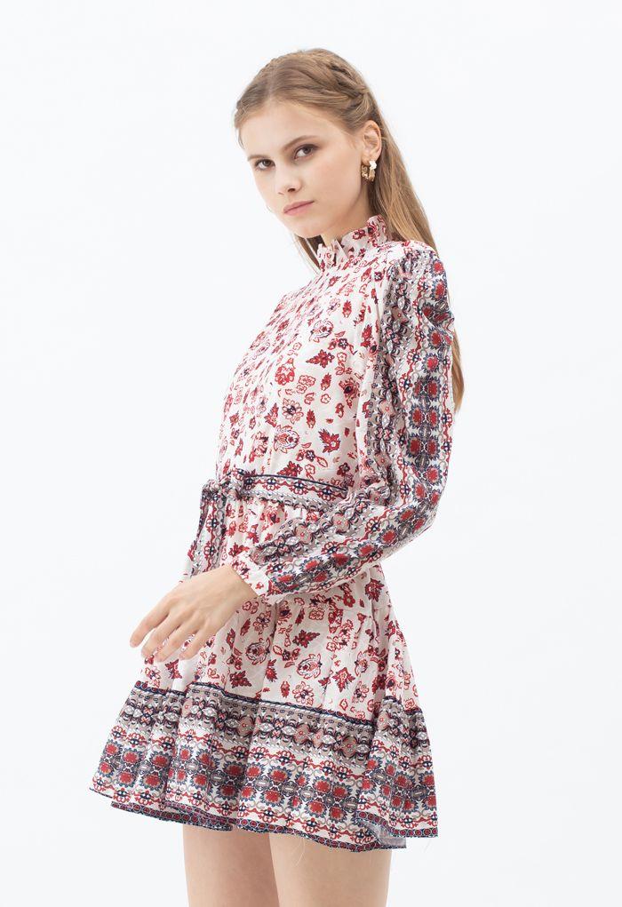 Exotic Bloom Puff Shoulder Self-Tie Ruffle Dress in Cream