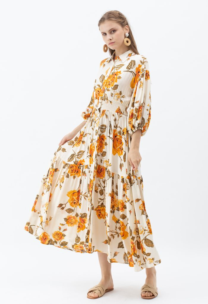 Blossom Moment Bubble Sleeves Button Down Maxi Dress in Cream