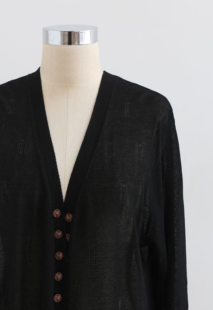 Lightsome Button Slit Hem Longline Cardigan in Black