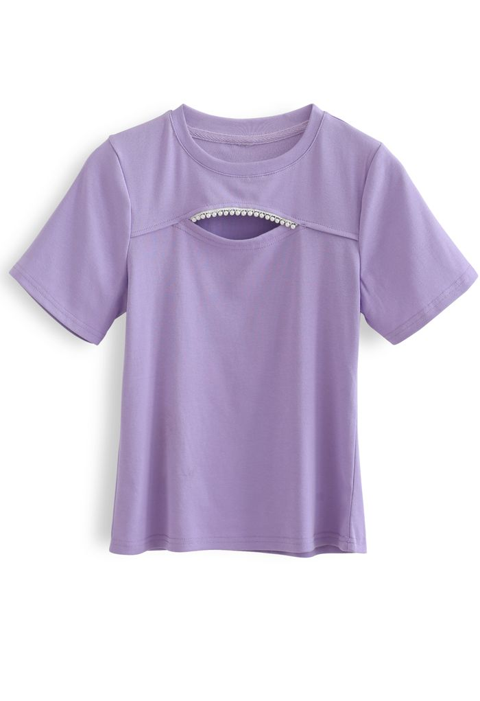 Front Cutout Pearls Fitted T-Shirt in Purple
