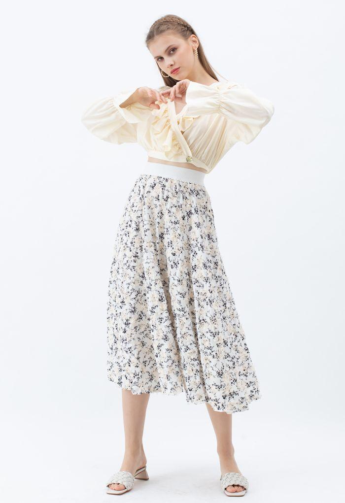 3D Applique Floral Print Midi Skirt in White