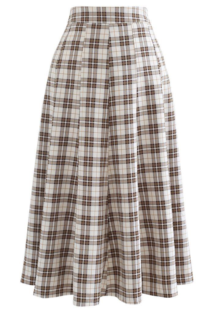 High-Waisted Tartan Flare Skirt in Tan