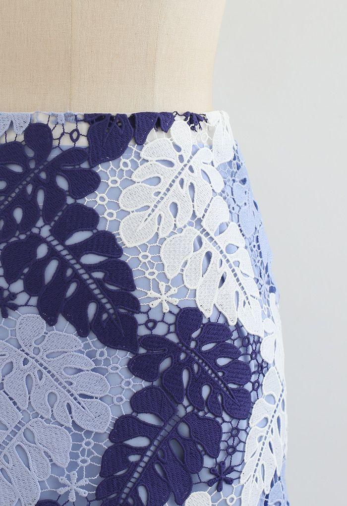 Multi-Color Leaves Crochet Pencil Skirt in Sky Blue