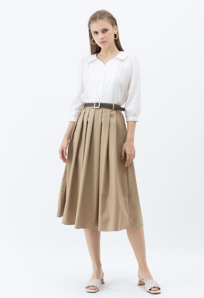 Classic Belted Pleated Midi Skirt in Tan