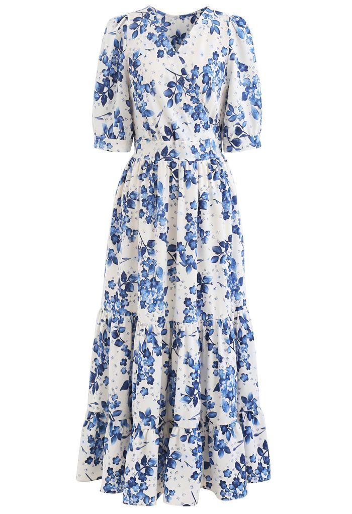 Blue Floral Printed Wrap Frilling Dress