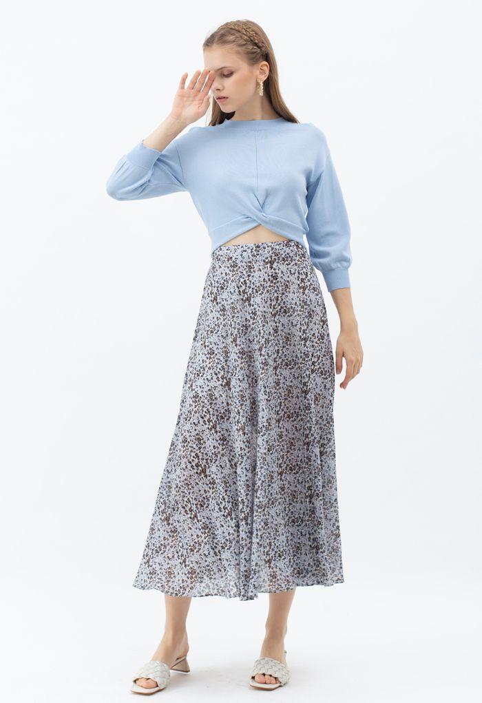 Flowy Leopard Print Chiffon Skirt