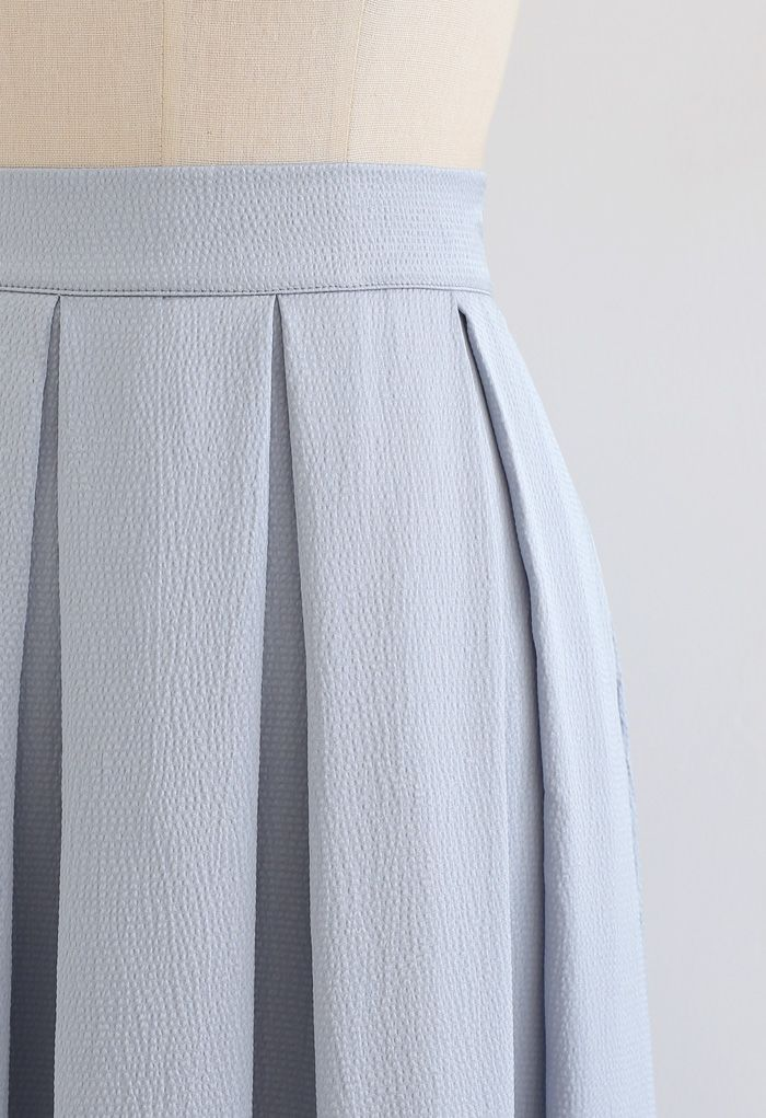 Polished Textured Pleated Midi Skirt in Dusty Blue
