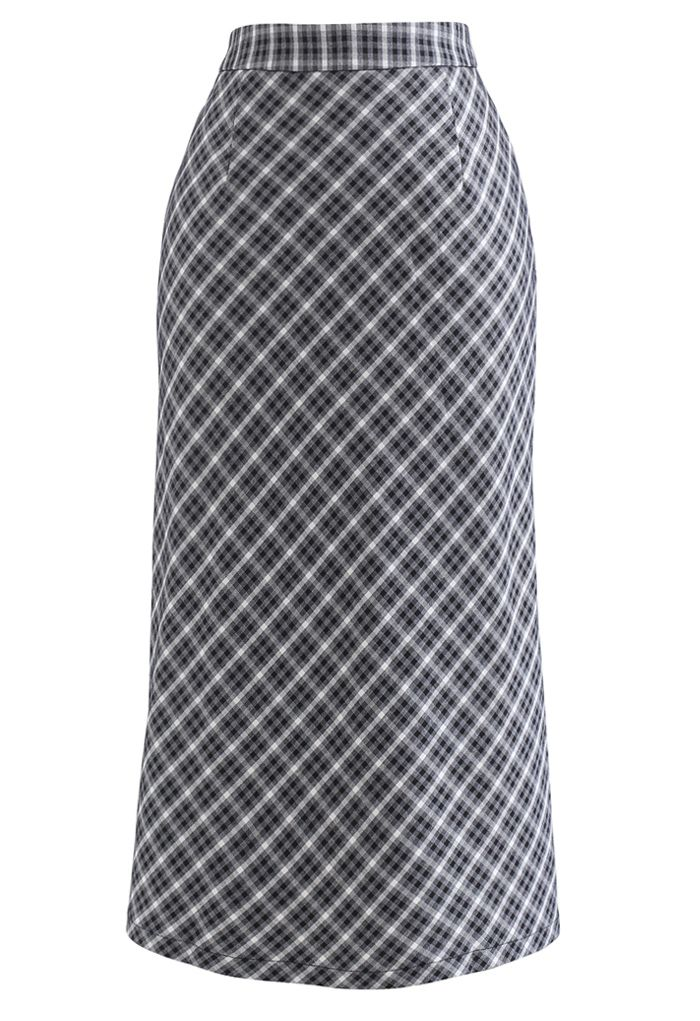 Gingham Slit Hem Pencil Skirt in Black