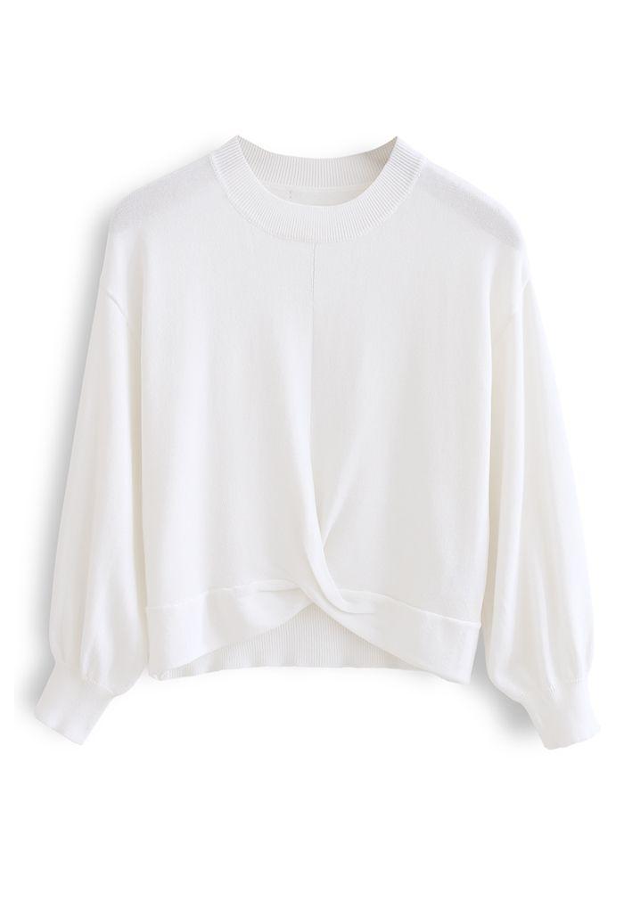 Twist Waist Cropped Rib Knit Top in White