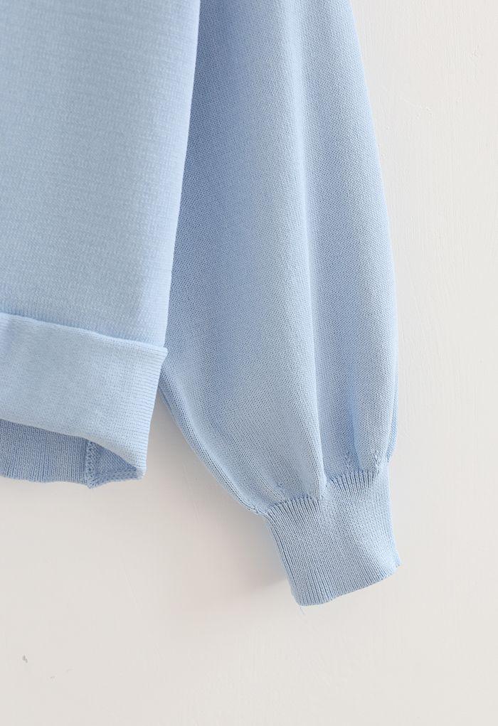 Twist Waist Cropped Rib Knit Top in Blue