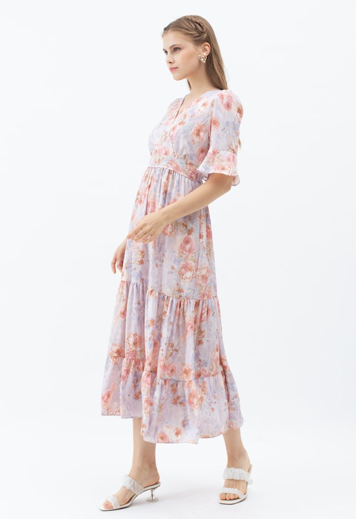 Retro Rose Wrapped Ruffle Maxi Dress in Lilac