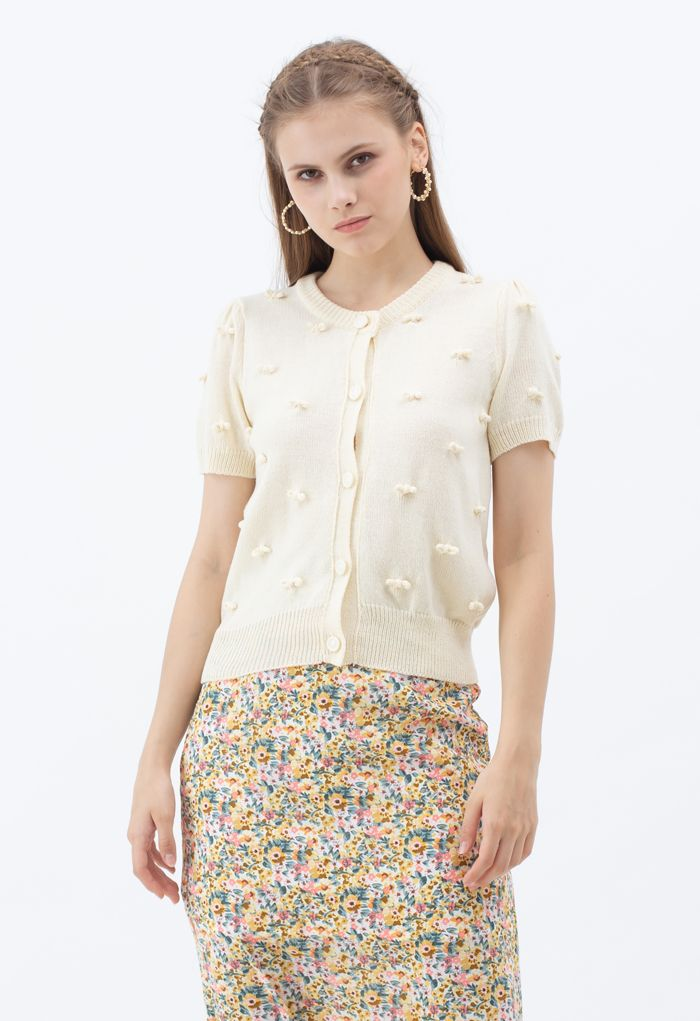 Sweet Knot Short Sleeve Buttoned Knit Cardigan in Light Yellow