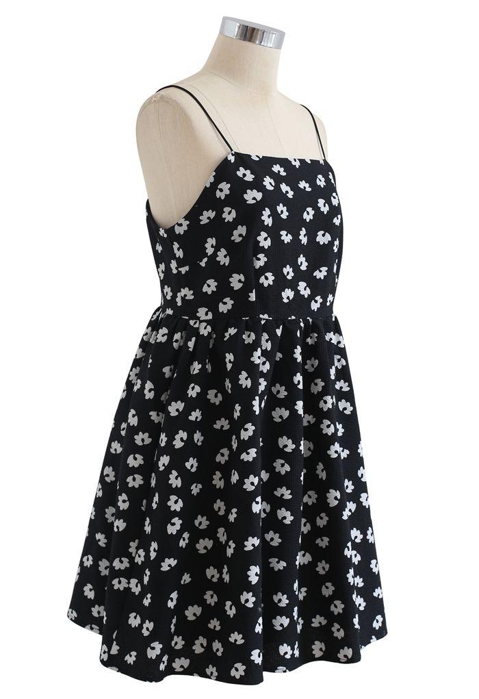 Embossed Floral Print Cami Dress in Black