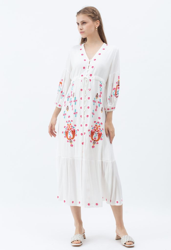 Button Down Embroidered Boho Maxi Dress