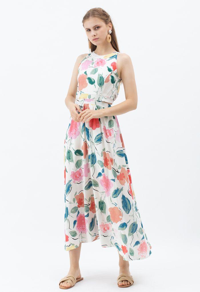 Summer Fun Painted Halter Neck Maxi Dress