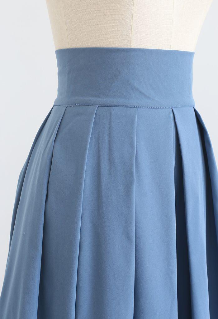 Full Pleated Cotton Midi Skirt in Blue