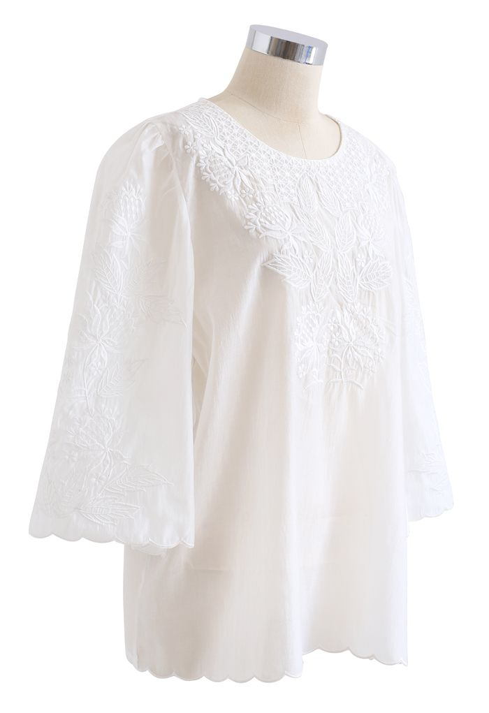 Delicate Embroidery Bell Sleeves Top