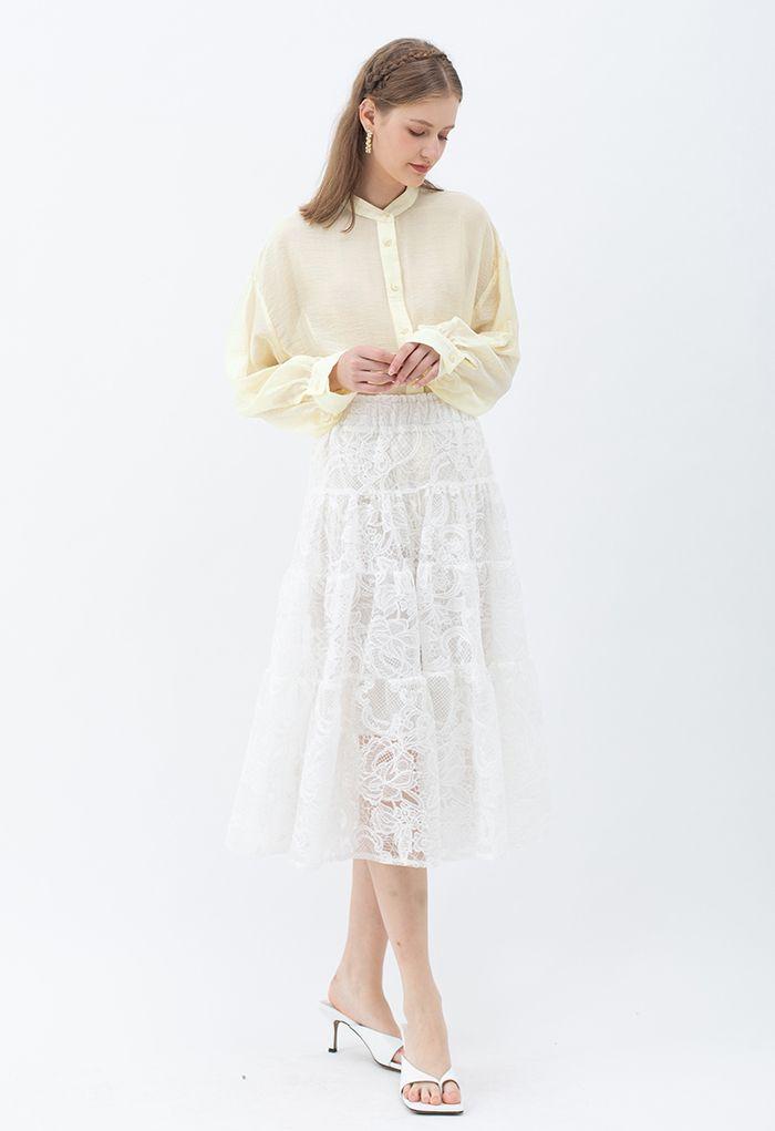 Collarless Lightweight Button Down Shirt in Cream
